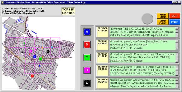 Liste d'incidents sonores et leurs localisations