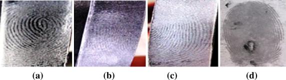 Résultats de visualisation d''empreintes latentes sur une surface plastique avec  a) silica gel b) poudre blanche c) poudre grise claire d) poudre noire